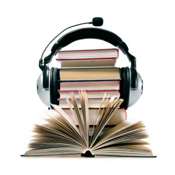 Immagine di un gruppo di libri che indossa una cuffia